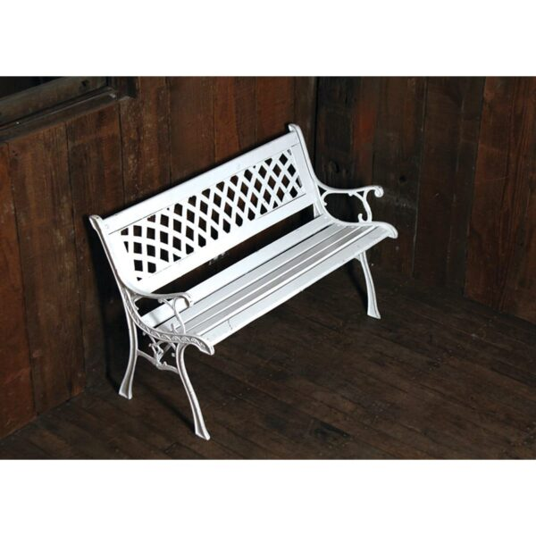 White Wooden Park Bench with cast iron detail-0