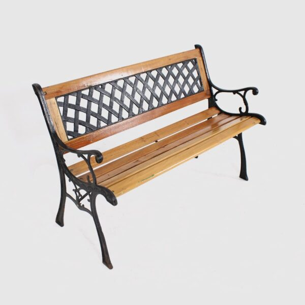Wooden Park Bench with cast iron detail-0