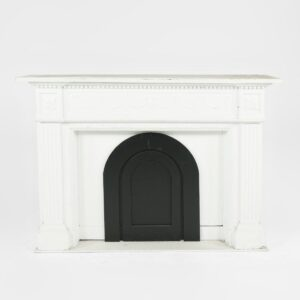 white fireplace with insert for hire - sydney props