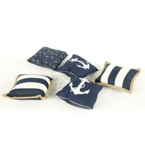 nautical cushion assorted navy for hire - sydney props