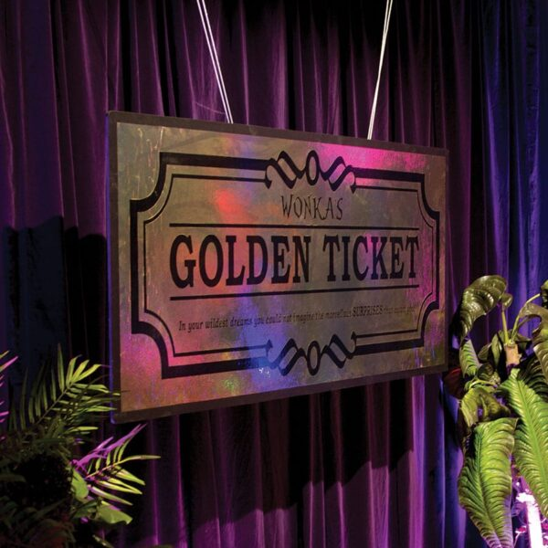 """Giant Willy Wonka's """"Golden Ticket"""" Sign-0"""