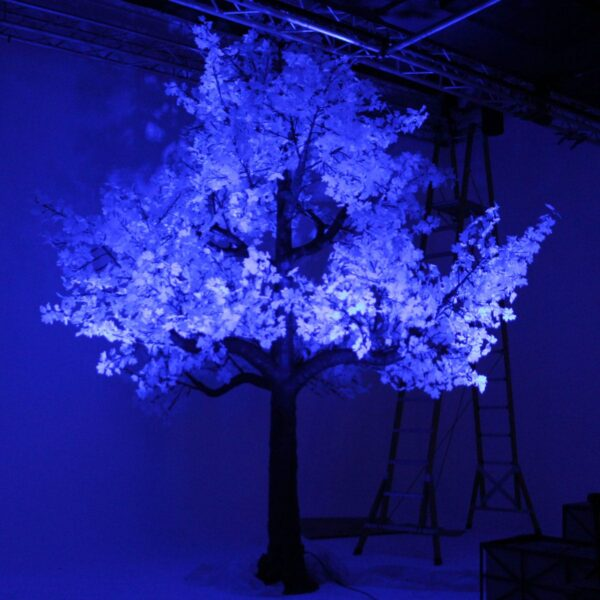 Illuminated White Tree (blue lit) - Sydney Prop Specialists HIRE