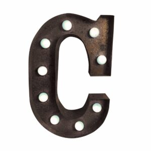"""C"" Marquee Letter, rust-0"