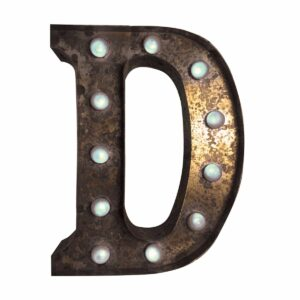 """D"" Marquee Letter, rust-0"