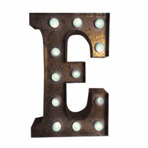 """E"" Marquee Letter, rust-0"