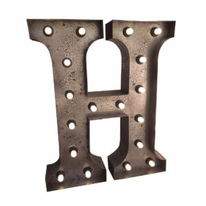 """""""H"""" Marquee Letter, rust-0"""