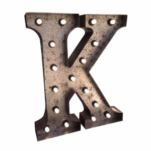 """K"" Marquee Letter, rust-0"
