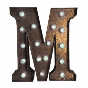 """M"" Marquee Letter, rust-0"