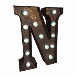"""N"" Marquee Letter, rust-0"