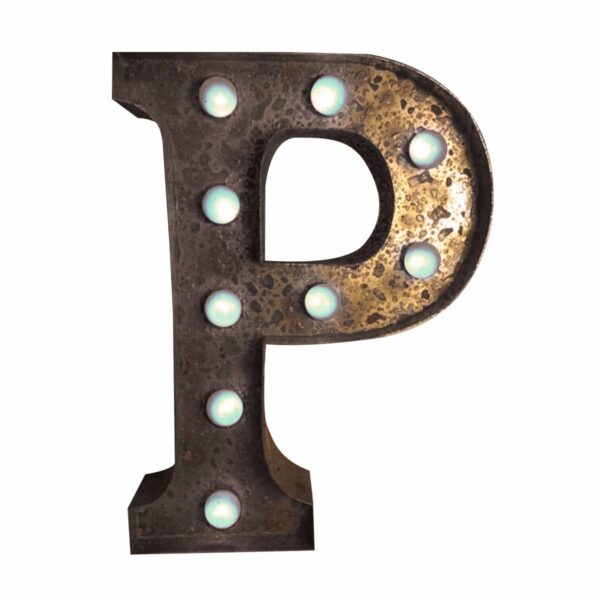 """""""P"""" Marquee Letter, rust-0"""