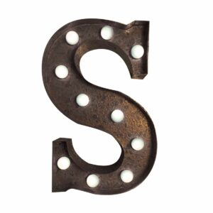 """S"" Marquee Letter, rust-0"