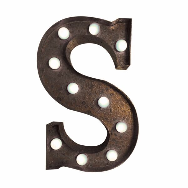 """""""S"""" Marquee Letter, rust-0"""