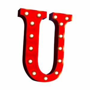 """U"" Marquee Letter, red-0"