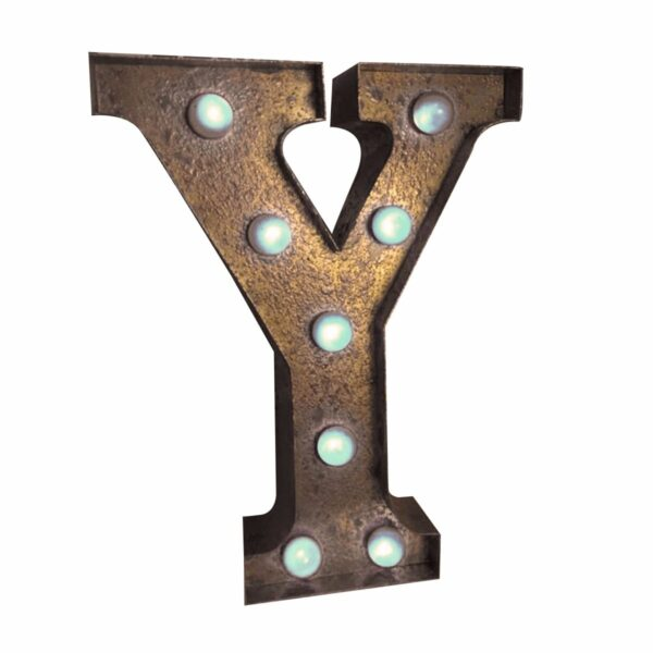 """""""Y"""" Marquee Letter, rust-0"""
