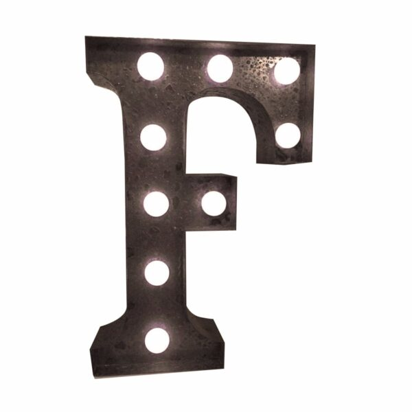 """""""F"""" Marquee Letter, rust -0"""