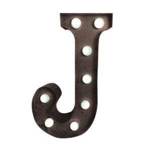 """J"" Marquee Letter, rust-0"