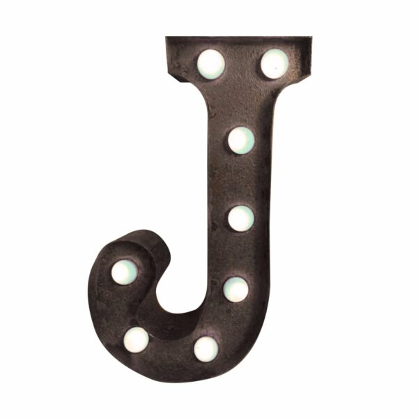 """""""J"""" Marquee Letter, rust-0"""