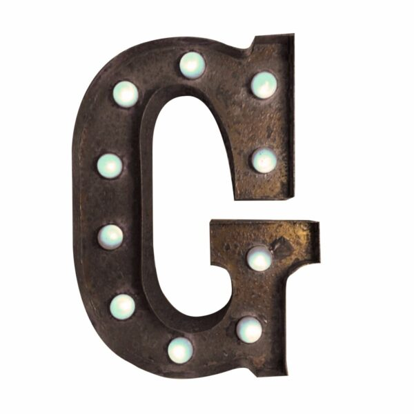 """""""G"""" Marquee Letter, rust-0"""