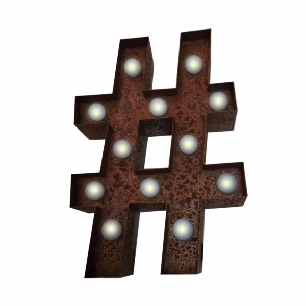 """#"" Hashtag, Marquee Light, rust-0"