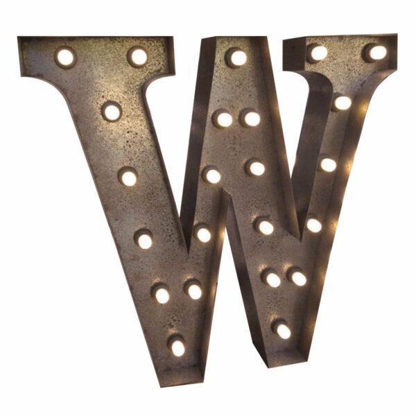 """W"" Marquee Letter, rust-0"