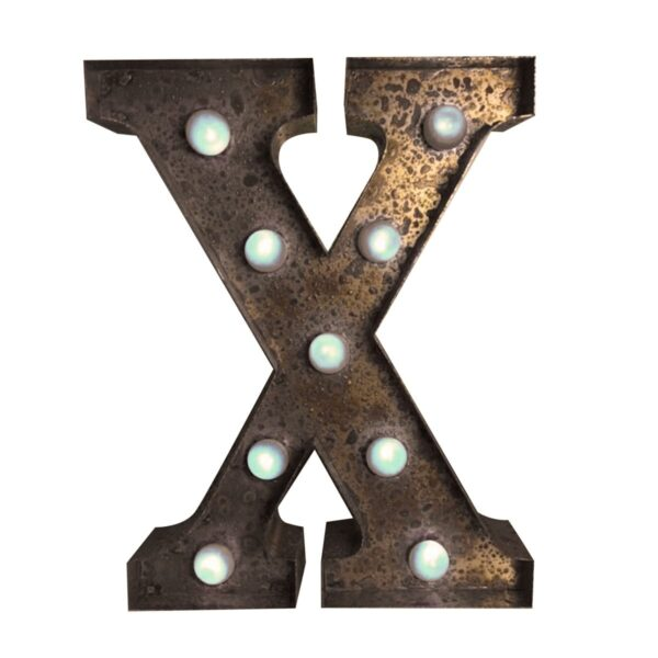"""""""X"""" Marquee Letter, rust-0"""