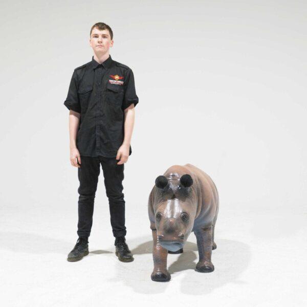 Life-Size Baby Rhinoceros Statue-19327