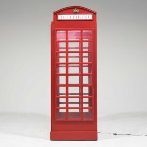 Red English Telephone Booth with Light -0