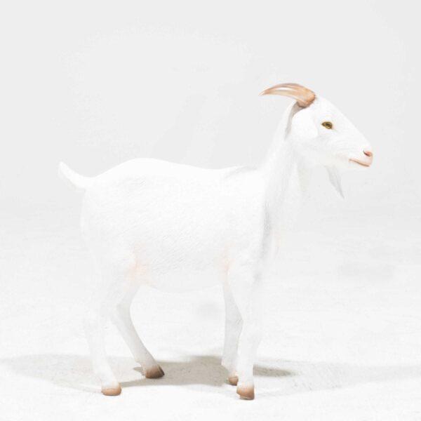 Life-Size Cream Goat Statue-0