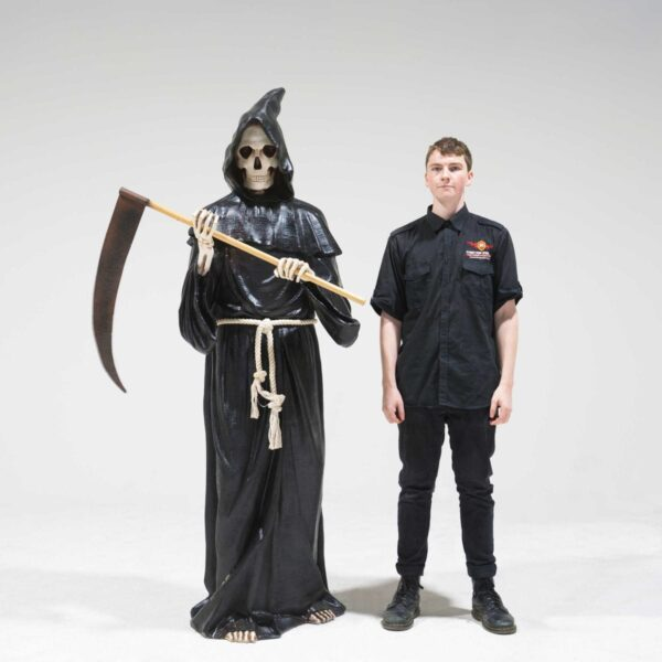 Life-Size Grim Reaper with Sickle Statue-19296