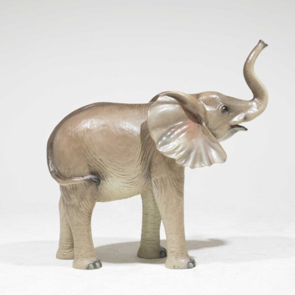 Life-Size Baby Elephant with trunk raised-19316