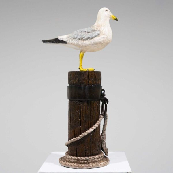 Seagull on Mooring Pole Statue-19406