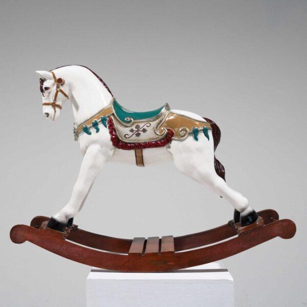 White Rocking Horse Statue-0