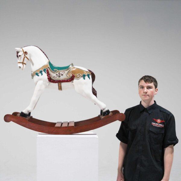 White Rocking Horse Statue-19426