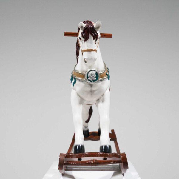 White Rocking Horse Statue-19427