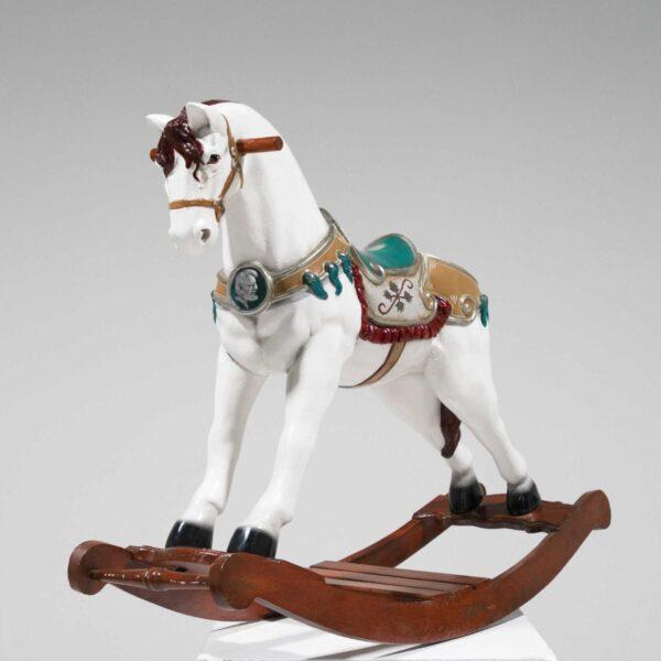 White Rocking Horse Statue-19428