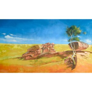 Australian Outback Desert Landscape Rocks and Tree Painted Backdrop BD-0108
