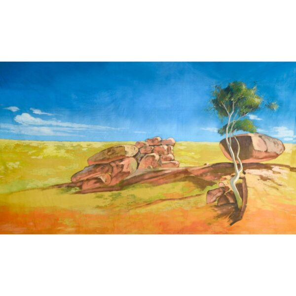 Australian Outback Desert Landscape Rocks and Tree Painted Backdrop BD-0108