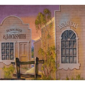 Early Australian Street Scene Bakery and Locksmith Painted Backdrop BD-0115