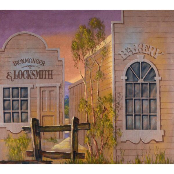 Early Australian Street Scene Bakery and Locksmith Painted Backdrop BD-0115