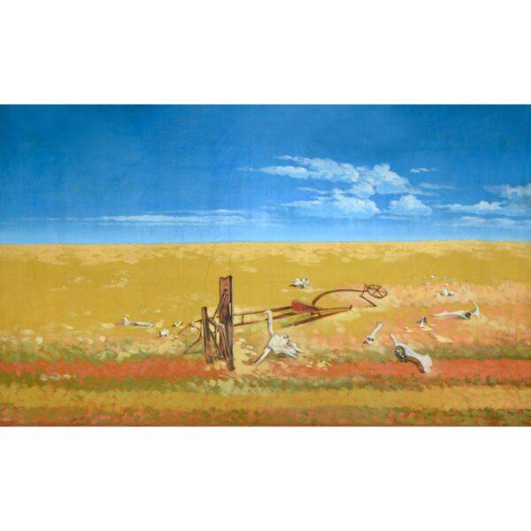 Australian Outback Desert Landscape With Rubble Painted Backdrop BD-0116