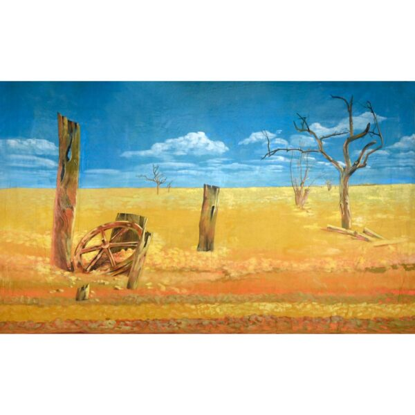 Australian Outback Desert Landscape with Posts and Wagon Wheel BD-0117