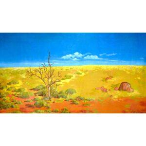 Australian Outback Desert Landscape Dead Tree Painted Backdrop BD-0126