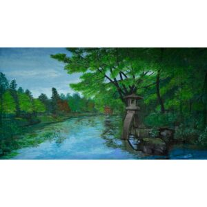 Japanese Garden with Lake Painted Backdrop BD-0152