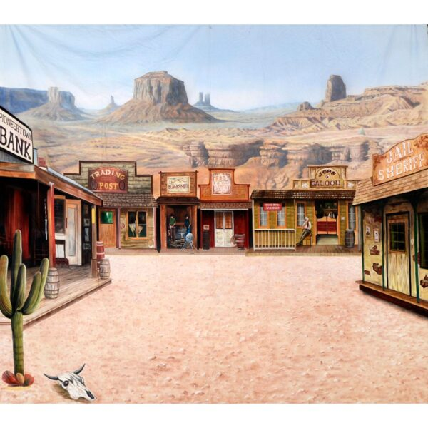 American West Western Town Painted Backdrop BD-0241
