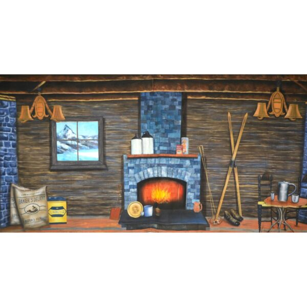 Mountain Log Cabin Painted Backdrop BD-0267