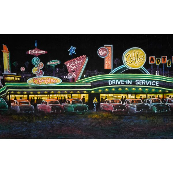 Las Vegas All Night Diner Painted Backdrop BD-0642