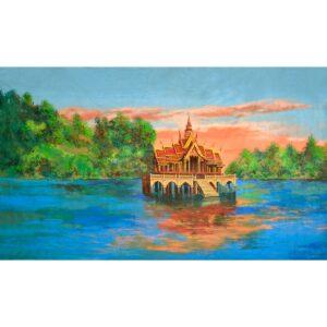 Thailand Pagoda On Lake Painted Backdrop BD-0780