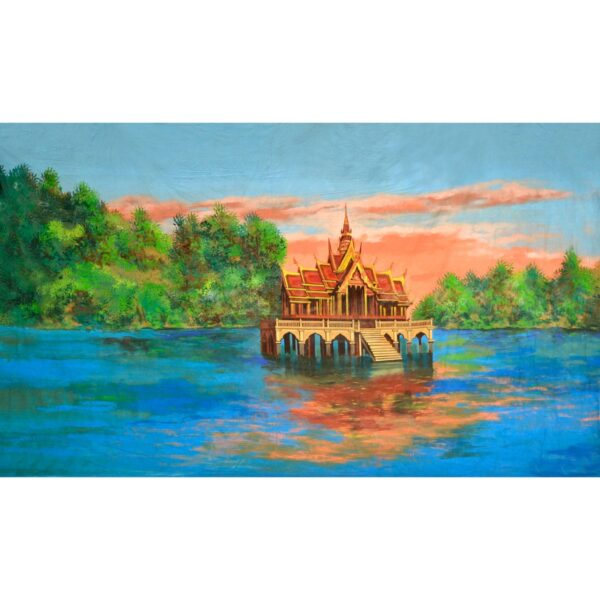 Thailand Pagoda On Lake Painted Backdrop BD-0780