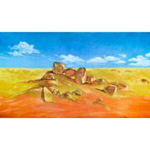 Australian Outback Desert Landscape Rocky Terrain Painted Backdrop BD-0901
