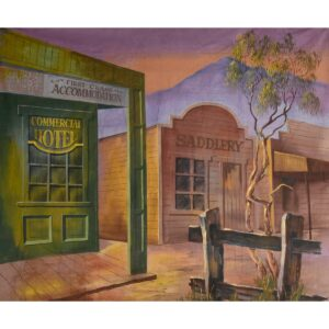 Early Australian Street Scene Hotel and Saddlery Painted Backdrop BD-0111